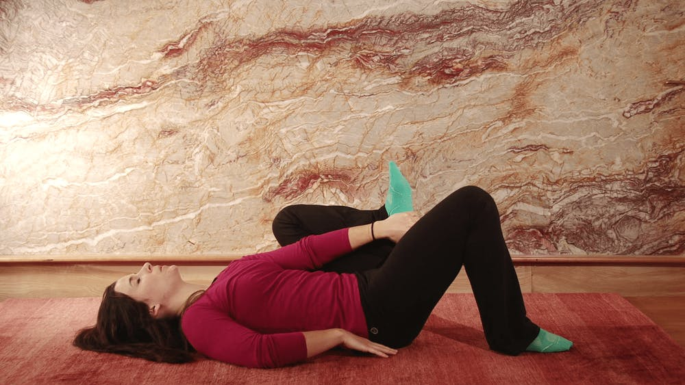 Wide Bent Leg Extension (lying) - Starting Stretch Position
